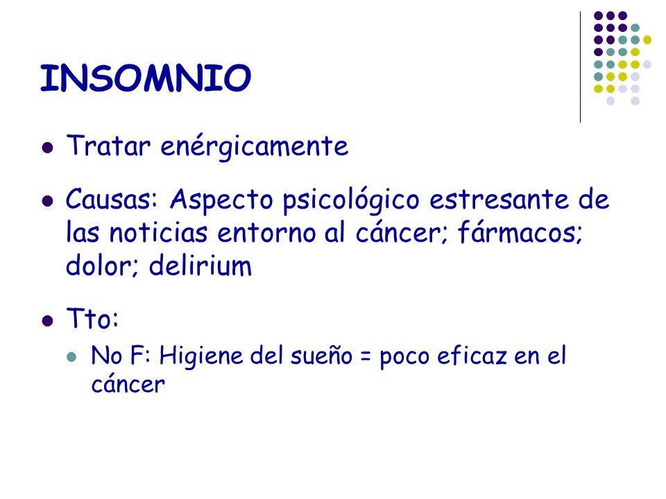 INSOMNIO Tratar enérgicamente Causas: Aspecto psicológico estresante de las noticias entorno al cáncer; fármacos; dolor; delirium Tto: No F: Higiene d