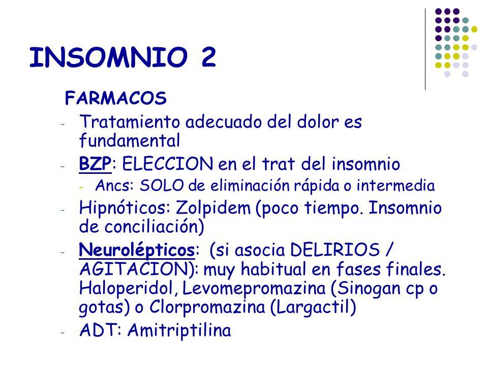 INSOMNIO 2 FARMACOS - Tratamiento adecuado del dolor es fundamental - BZP: ELECCION en el trat del insomnio - Ancs: SOLO de eliminación rápida o inter