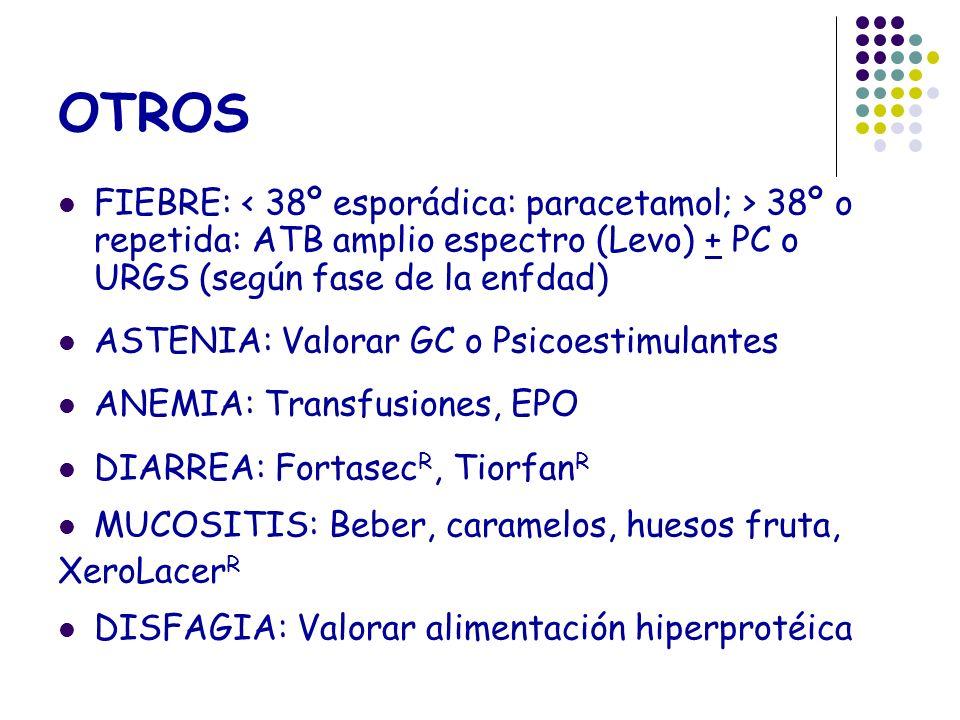OTROS FIEBRE: 38º o repetida: ATB amplio espectro (Levo) + PC o URGS (según fase de la enfdad) ASTENIA: Valorar GC o Psicoestimulantes ANEMIA: Transfu