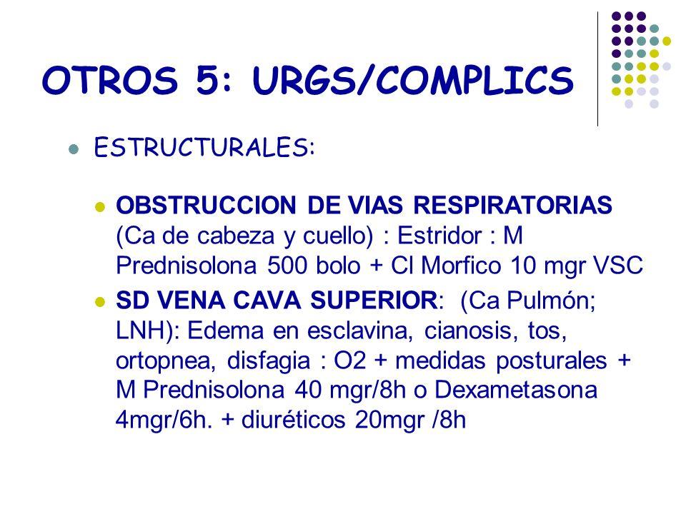 OTROS 5: URGS/COMPLICS ESTRUCTURALES: OBSTRUCCION DE VIAS RESPIRATORIAS (Ca de cabeza y cuello) : Estridor : M Prednisolona 500 bolo + Cl Morfico 10 m