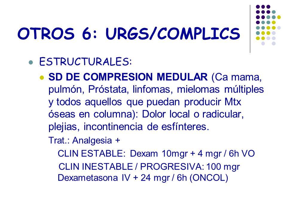 OTROS 6: URGS/COMPLICS ESTRUCTURALES: SD DE COMPRESION MEDULAR (Ca mama, pulmón, Próstata, linfomas, mielomas múltiples y todos aquellos que puedan pr