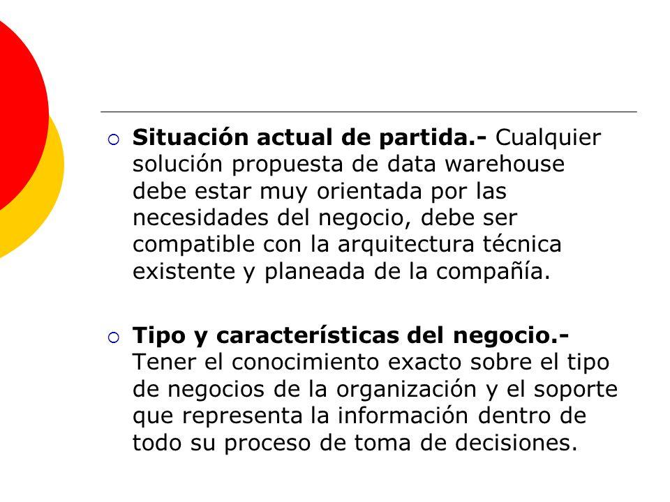 Situación actual de partida.- Cualquier solución propuesta de data warehouse debe estar muy orientada por las necesidades del negocio, debe ser compat