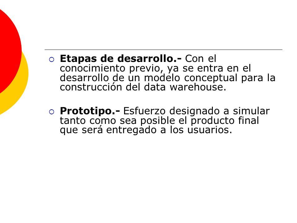 Etapas de desarrollo.- Con el conocimiento previo, ya se entra en el desarrollo de un modelo conceptual para la construcción del data warehouse. Proto