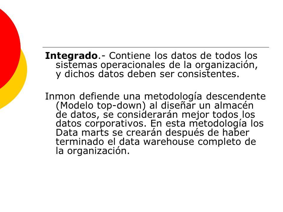 Integrado.- Contiene los datos de todos los sistemas operacionales de la organización, y dichos datos deben ser consistentes. Inmon defiende una metod