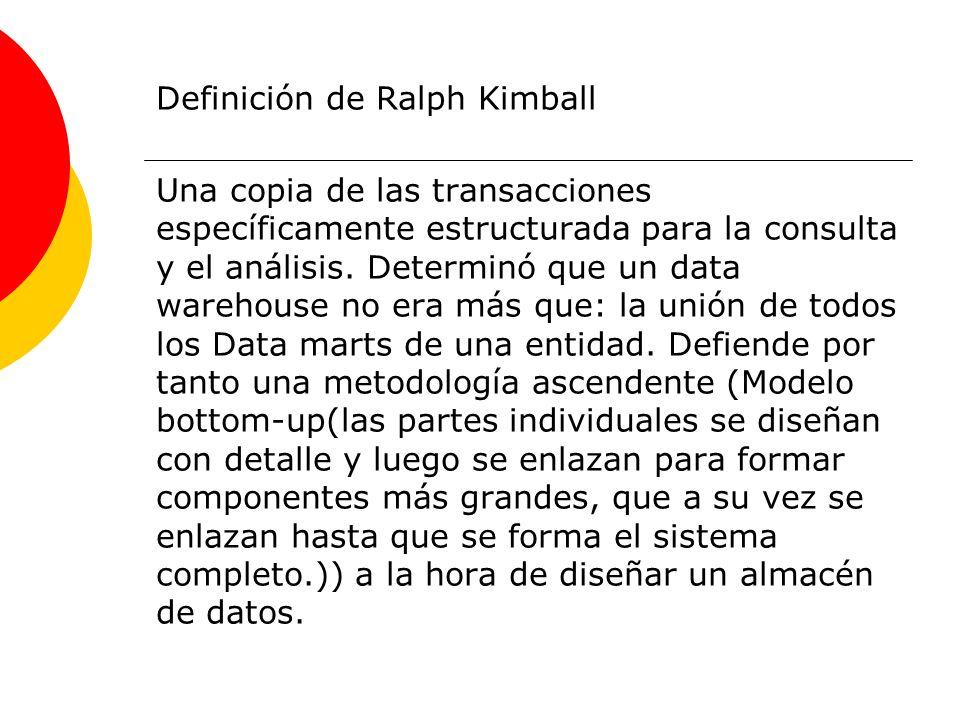 Definición de Ralph Kimball Una copia de las transacciones específicamente estructurada para la consulta y el análisis. Determinó que un data warehous