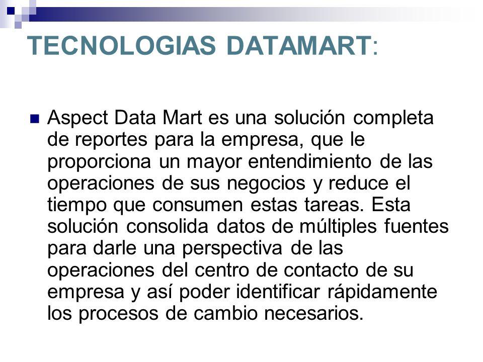 TECNOLOGIAS DATAMART: Aspect Data Mart es una solución completa de reportes para la empresa, que le proporciona un mayor entendimiento de las operacio