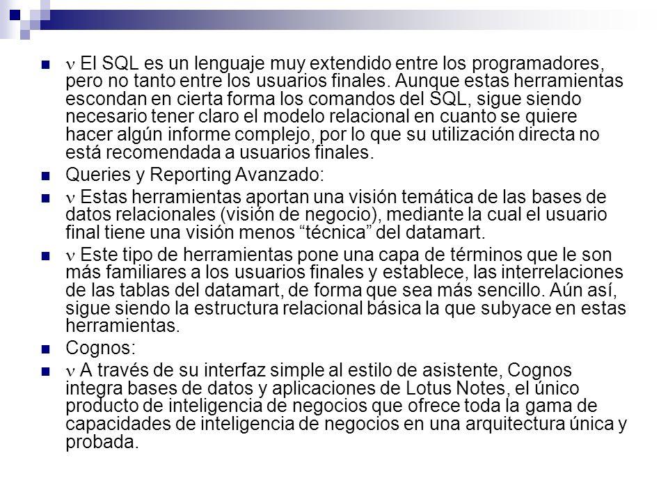 El SQL es un lenguaje muy extendido entre los programadores, pero no tanto entre los usuarios finales. Aunque estas herramientas escondan en cierta fo