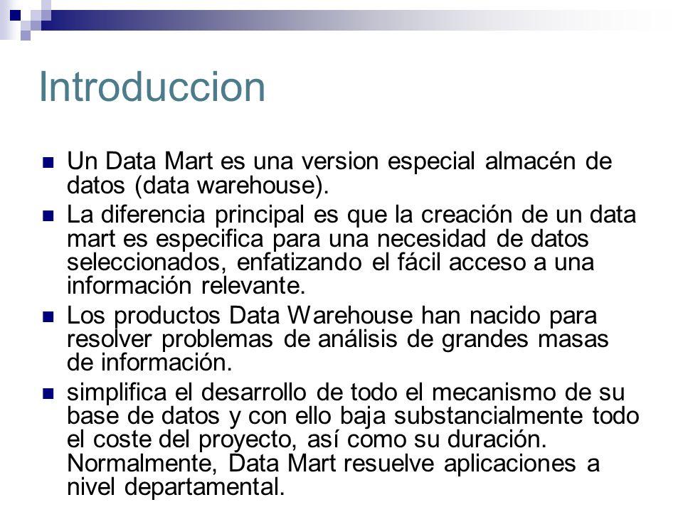 Introduccion Un Data Mart es una version especial almacén de datos (data warehouse). La diferencia principal es que la creación de un data mart es esp
