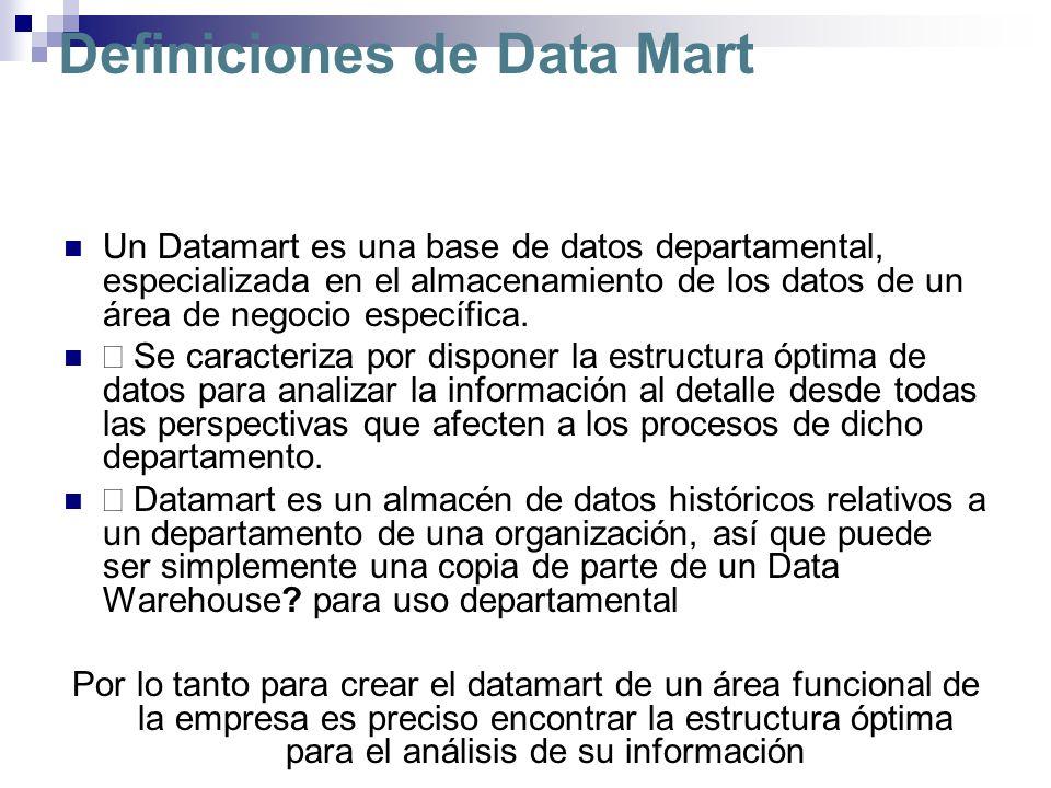 Definiciones de Data Mart Un Datamart es una base de datos departamental, especializada en el almacenamiento de los datos de un área de negocio especí
