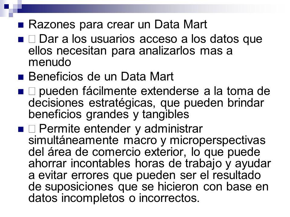 Razones para crear un Data Mart Dar a los usuarios acceso a los datos que ellos necesitan para analizarlos mas a menudo Beneficios de un Data Mart pue