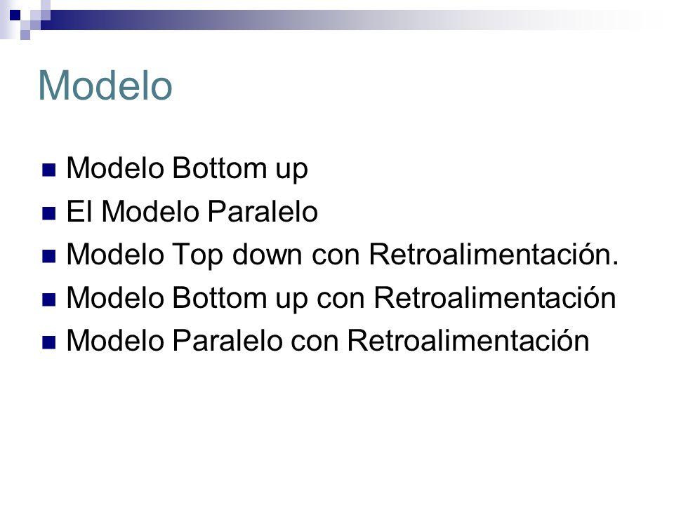 Modelo Modelo Bottom up El Modelo Paralelo Modelo Top down con Retroalimentación. Modelo Bottom up con Retroalimentación Modelo Paralelo con Retroalim