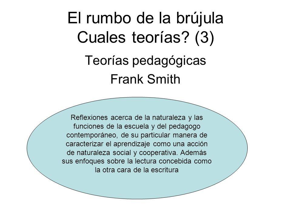 El rumbo de la brújula Cuales teorías? (3) Teorías pedagógicas Frank Smith Reflexiones acerca de la naturaleza y las funciones de la escuela y del ped