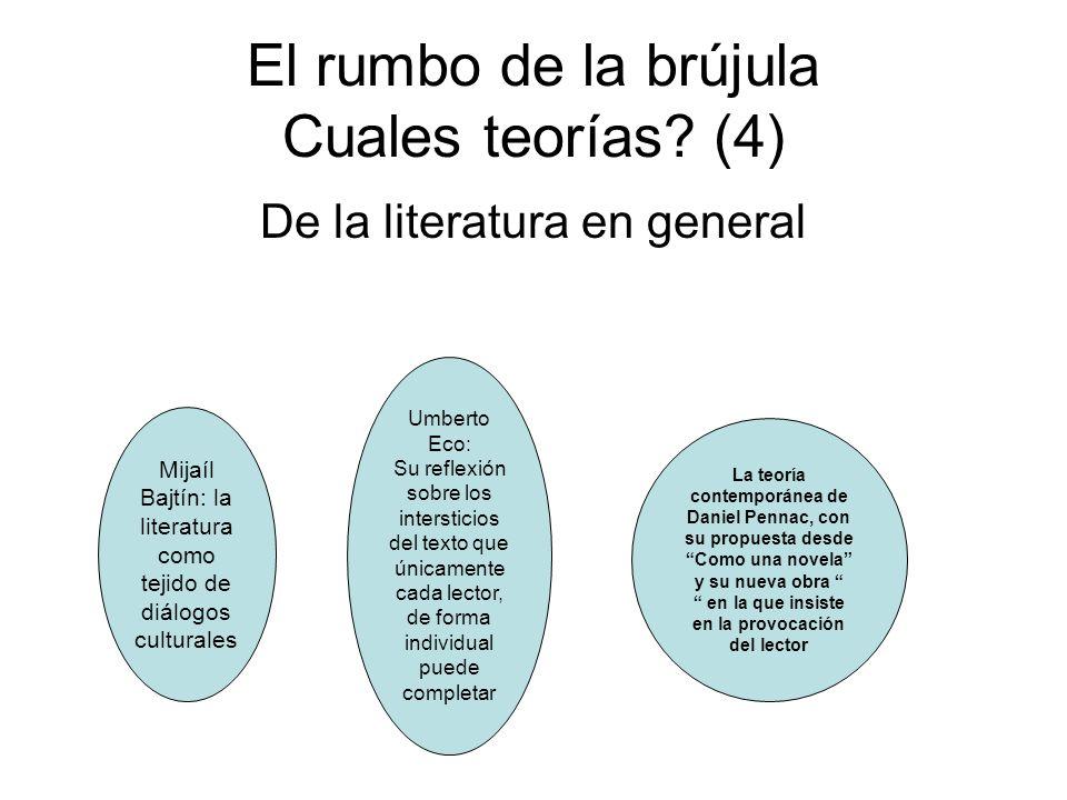 El rumbo de la brújula Cuales teorías? (4) De la literatura en general Mijaíl Bajtín: la literatura como tejido de diálogos culturales Umberto Eco: Su