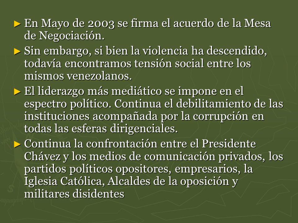 En Mayo de 2003 se firma el acuerdo de la Mesa de Negociación. En Mayo de 2003 se firma el acuerdo de la Mesa de Negociación. Sin embargo, si bien la