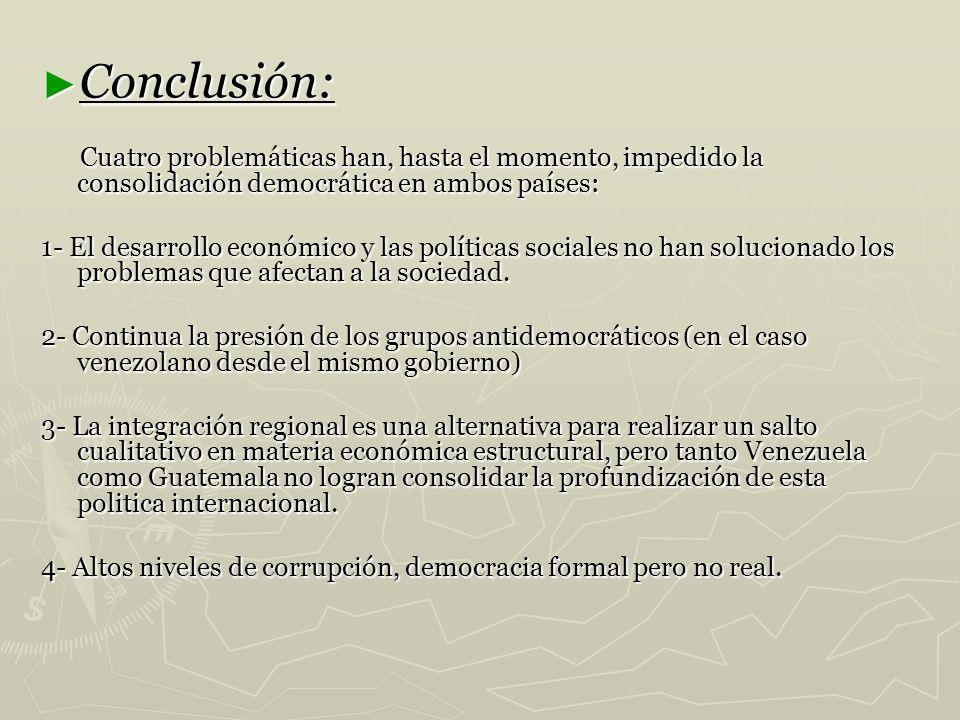 Conclusión: Conclusión: Cuatro problemáticas han, hasta el momento, impedido la consolidación democrática en ambos países: Cuatro problemáticas han, h
