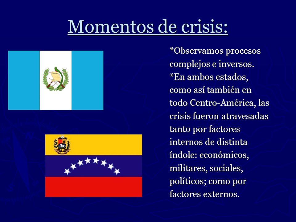 Momentos de crisis: *Observamos procesos complejos e inversos. *En ambos estados, como así también en todo Centro-América, las crisis fueron atravesad