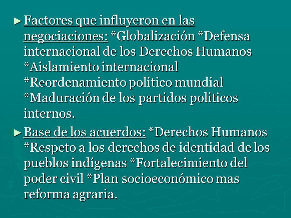 Factores que influyeron en las negociaciones: *Globalización *Defensa internacional de los Derechos Humanos *Aislamiento internacional *Reordenamiento