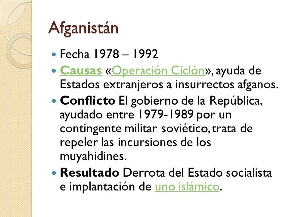Afganistán Fecha 1978 – 1992 Causas «Operación Ciclón», ayuda de Estados extranjeros a insurrectos afganos. CausasOperación Ciclón Conflicto El gobier