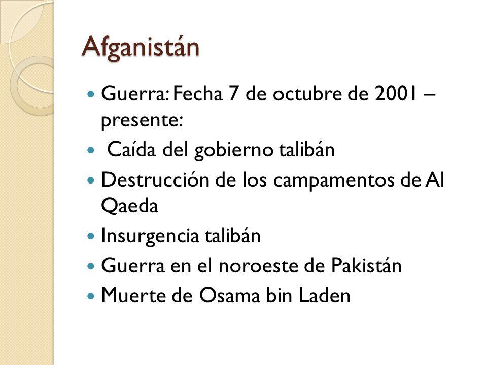 Afganistán Guerra: Fecha 7 de octubre de 2001 – presente: Caída del gobierno talibán Destrucción de los campamentos de Al Qaeda Insurgencia talibán Gu