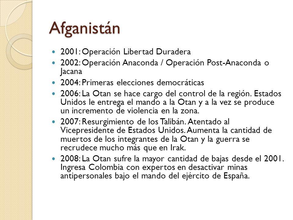 Afganistán 2001: Operación Libertad Duradera 2002: Operación Anaconda / Operación Post-Anaconda o Jacana 2004: Primeras elecciones democráticas 2006: