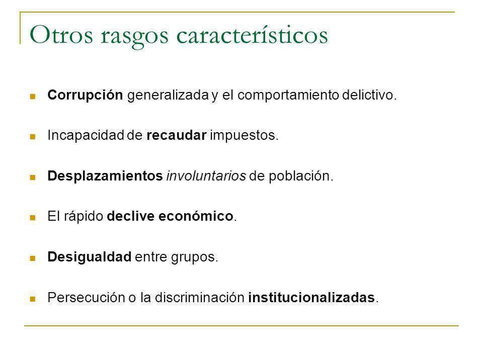 Otros rasgos característicos Corrupción generalizada y el comportamiento delictivo. Incapacidad de recaudar impuestos. Desplazamientos involuntarios d