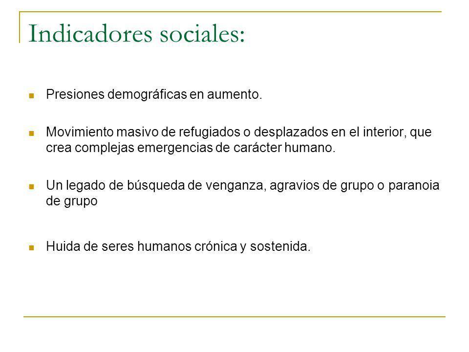 Indicadores sociales: Presiones demográficas en aumento. Movimiento masivo de refugiados o desplazados en el interior, que crea complejas emergencias