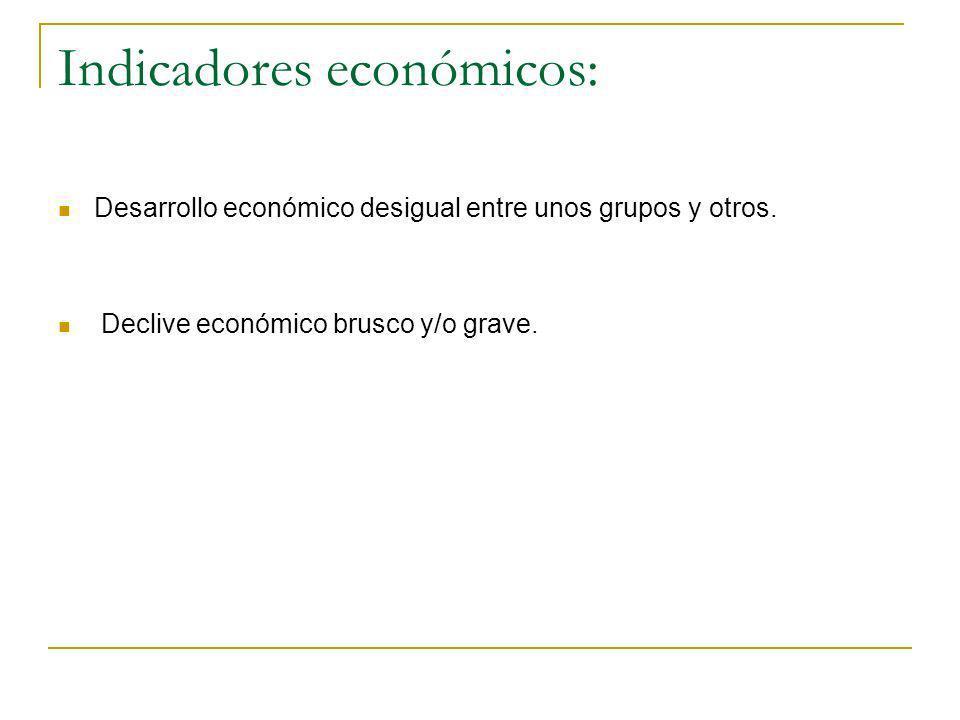 Indicadores económicos: Desarrollo económico desigual entre unos grupos y otros. Declive económico brusco y/o grave.