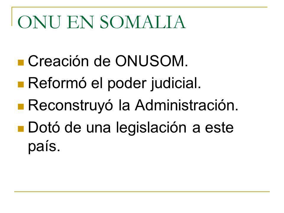 ONU EN SOMALIA Creación de ONUSOM. Reformó el poder judicial. Reconstruyó la Administración. Dotó de una legislación a este país.