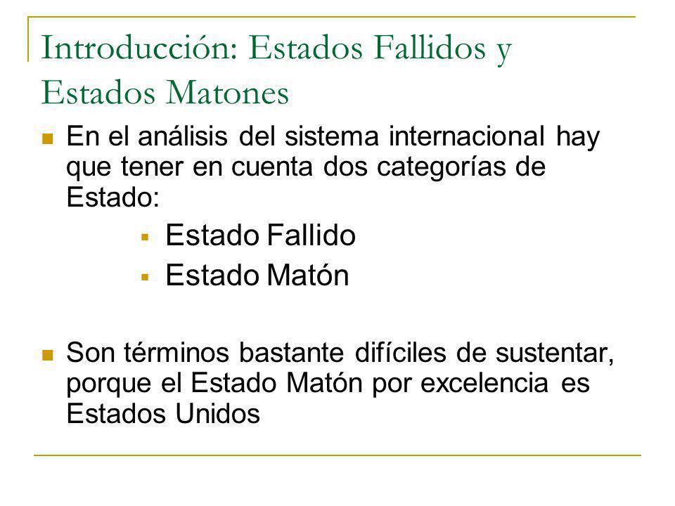 Introducción: Estados Fallidos y Estados Matones En el análisis del sistema internacional hay que tener en cuenta dos categorías de Estado: Estado Fal