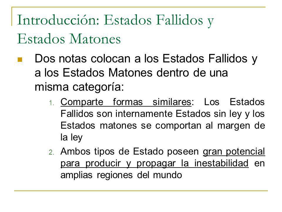Introducción: Estados Fallidos y Estados Matones Dos notas colocan a los Estados Fallidos y a los Estados Matones dentro de una misma categoría: 1. Co