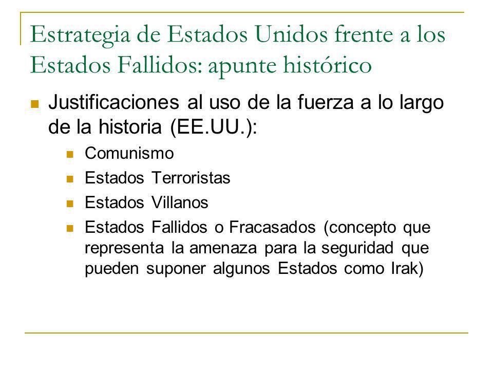 Estrategia de Estados Unidos frente a los Estados Fallidos: apunte histórico Justificaciones al uso de la fuerza a lo largo de la historia (EE.UU.): C