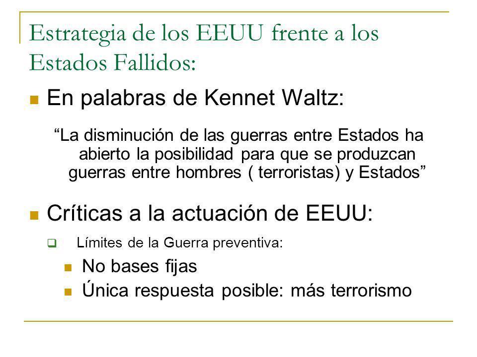 Estrategia de los EEUU frente a los Estados Fallidos: En palabras de Kennet Waltz: La disminución de las guerras entre Estados ha abierto la posibilid