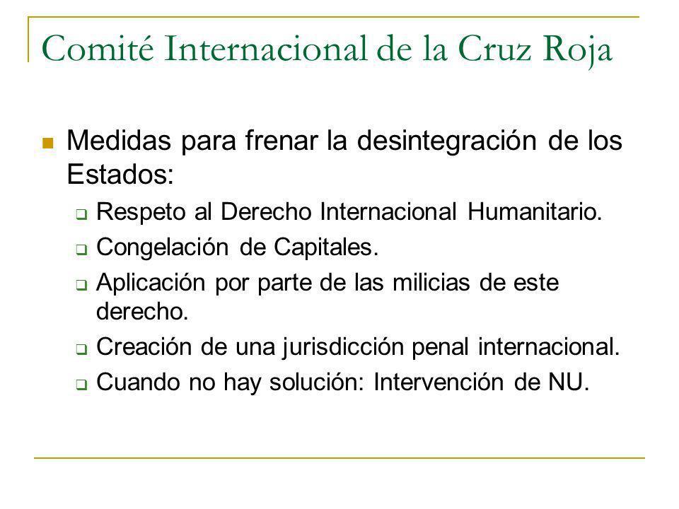 Comité Internacional de la Cruz Roja Medidas para frenar la desintegración de los Estados: Respeto al Derecho Internacional Humanitario. Congelación d