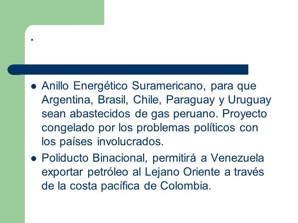 . Anillo Energético Suramericano, para que Argentina, Brasil, Chile, Paraguay y Uruguay sean abastecidos de gas peruano. Proyecto congelado por los pr