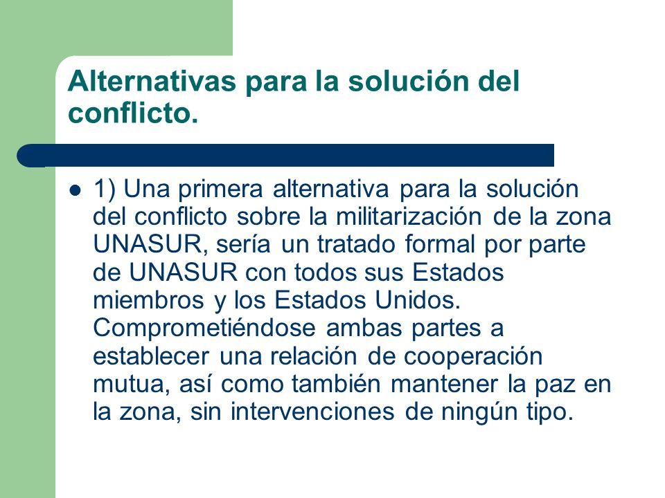 Alternativas para la solución del conflicto. 1) Una primera alternativa para la solución del conflicto sobre la militarización de la zona UNASUR, serí