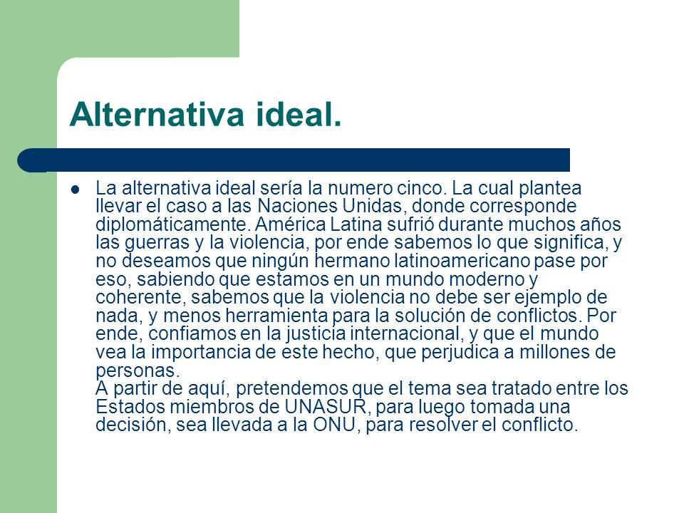 Alternativa ideal. La alternativa ideal sería la numero cinco. La cual plantea llevar el caso a las Naciones Unidas, donde corresponde diplomáticament