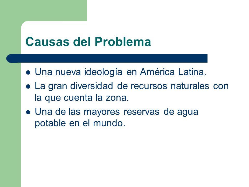 Causas del Problema Una nueva ideología en América Latina. La gran diversidad de recursos naturales con la que cuenta la zona. Una de las mayores rese
