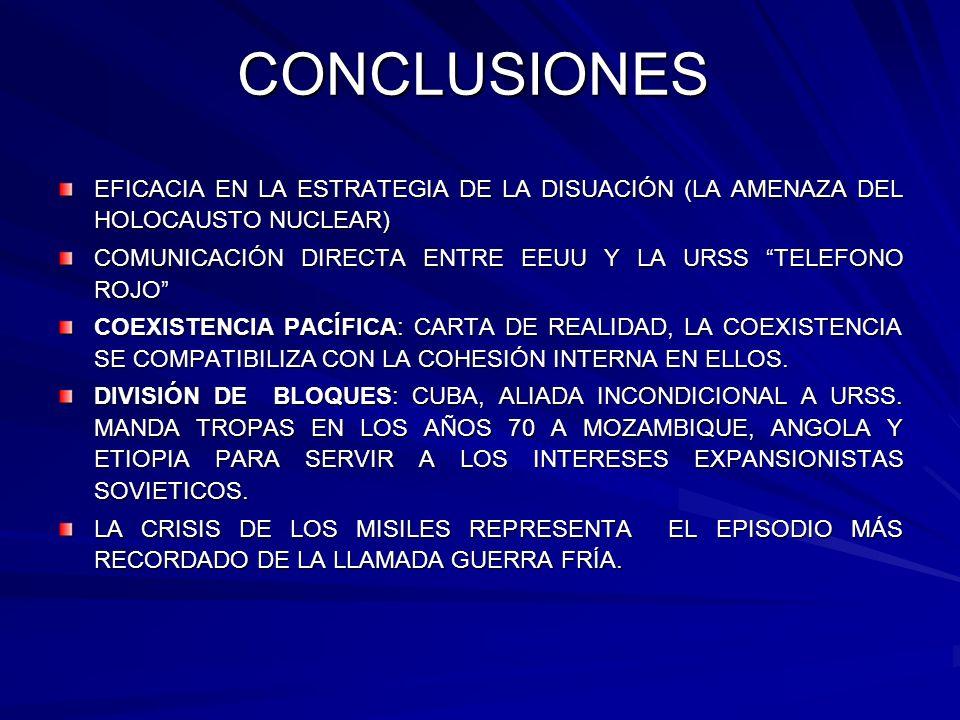 CONCLUSIONES EFICACIA EN LA ESTRATEGIA DE LA DISUACIÓN (LA AMENAZA DEL HOLOCAUSTO NUCLEAR) COMUNICACIÓN DIRECTA ENTRE EEUU Y LA URSS TELEFONO ROJO COE