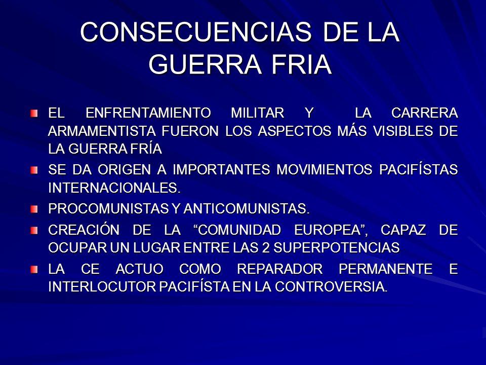 CONSECUENCIAS DE LA GUERRA FRIA EL ENFRENTAMIENTO MILITAR Y LA CARRERA ARMAMENTISTA FUERON LOS ASPECTOS MÁS VISIBLES DE LA GUERRA FRÍA SE DA ORIGEN A