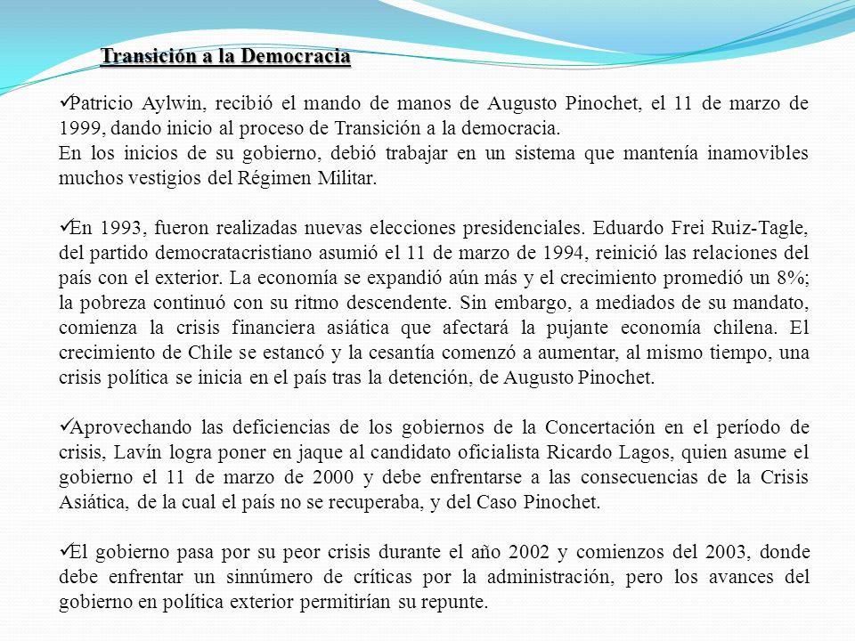 Patricio Aylwin, recibió el mando de manos de Augusto Pinochet, el 11 de marzo de 1999, dando inicio al proceso de Transición a la democracia. En los