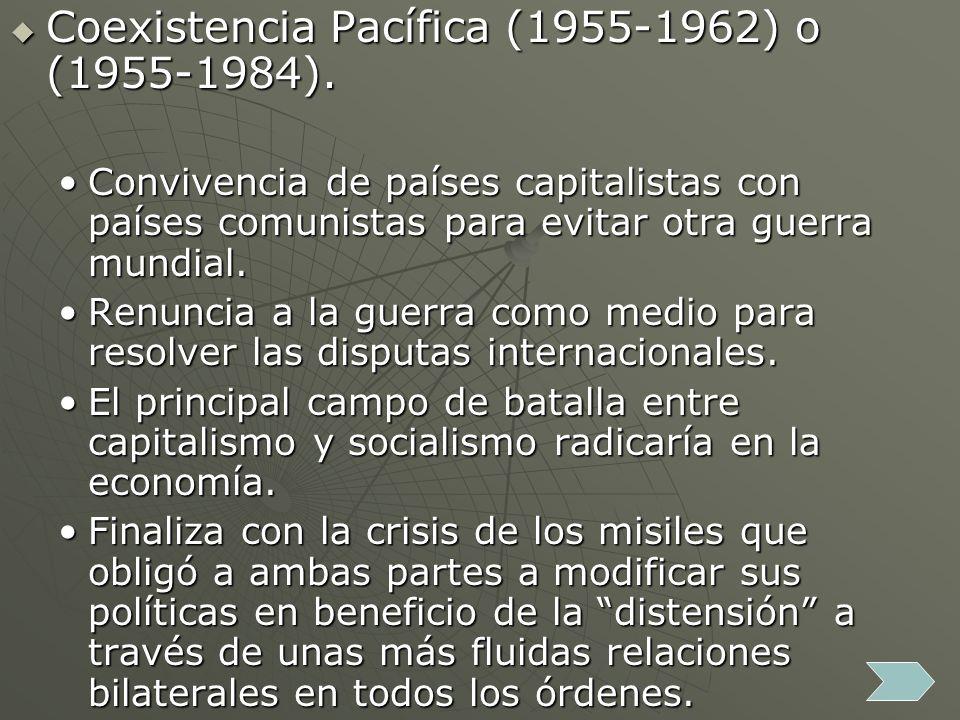 Coexistencia Pacífica (1955-1962) o (1955-1984). Coexistencia Pacífica (1955-1962) o (1955-1984). Convivencia de países capitalistas con países comuni