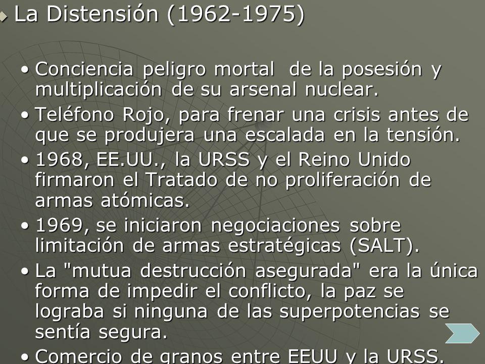 La Distensión (1962-1975) La Distensión (1962-1975) Conciencia peligro mortal de la posesión y multiplicación de su arsenal nuclear.Conciencia peligro mortal de la posesión y multiplicación de su arsenal nuclear.