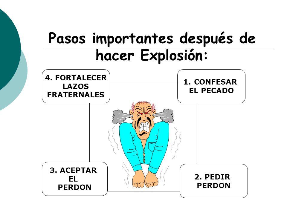 Pasos importantes después de hacer Explosión: 1.CONFESAR EL PECADO 2. PEDIR PERDON 3. ACEPTAR EL PERDON 4. FORTALECER LAZOS FRATERNALES