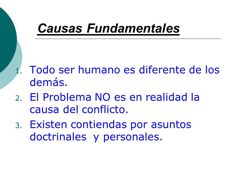 Causas Fundamentales 1. Todo ser humano es diferente de los demás. 2. El Problema NO es en realidad la causa del conflicto. 3. Existen contiendas por