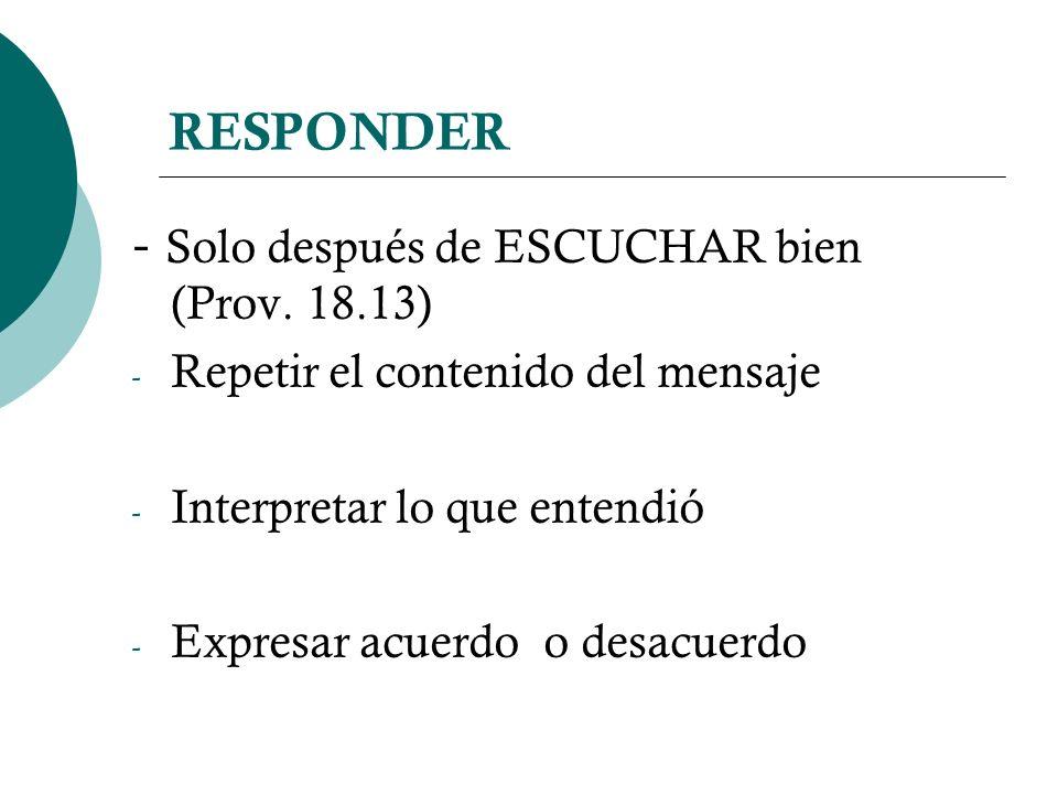 RESPONDER - Solo después de ESCUCHAR bien (Prov. 18.13) - Repetir el contenido del mensaje - Interpretar lo que entendió - Expresar acuerdo o desacuer