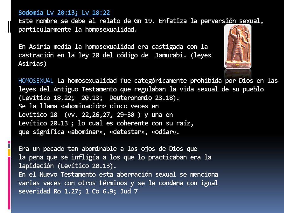 Sodomía Lv 20:13; Lv 18:22 Este nombre se debe al relato de Gn 19. Enfatiza la perversión sexual, particularmente la homosexualidad. En Asiria media l