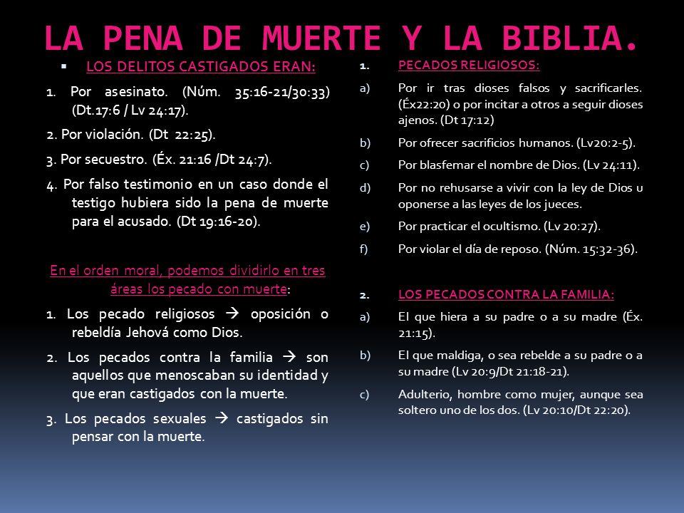 LA PENA DE MUERTE Y LA BIBLIA. LOS DELITOS CASTIGADOS ERAN: 1. Por asesinato. (Núm. 35:16-21/30:33) (Dt.17:6 / Lv 24:17). 2. Por violación. (Dt 22:25)