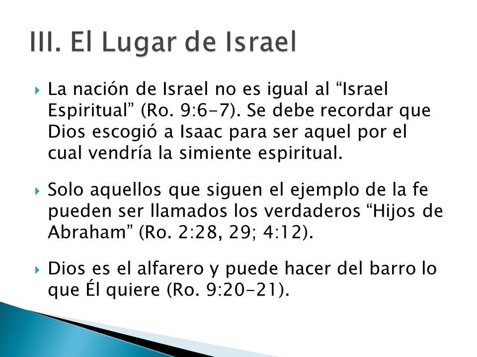 La nación de Israel no es igual al Israel Espiritual (Ro. 9:6-7). Se debe recordar que Dios escogió a Isaac para ser aquel por el cual vendría la simi