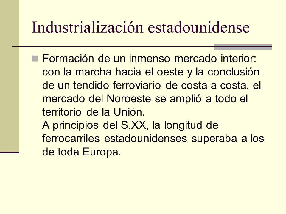 Industrialización estadounidense Formación de un inmenso mercado interior: con la marcha hacia el oeste y la conclusión de un tendido ferroviario de c
