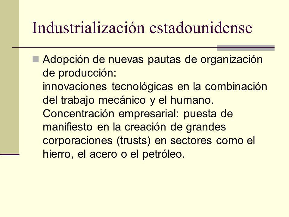 Industrialización estadounidense Adopción de nuevas pautas de organización de producción: innovaciones tecnológicas en la combinación del trabajo mecá